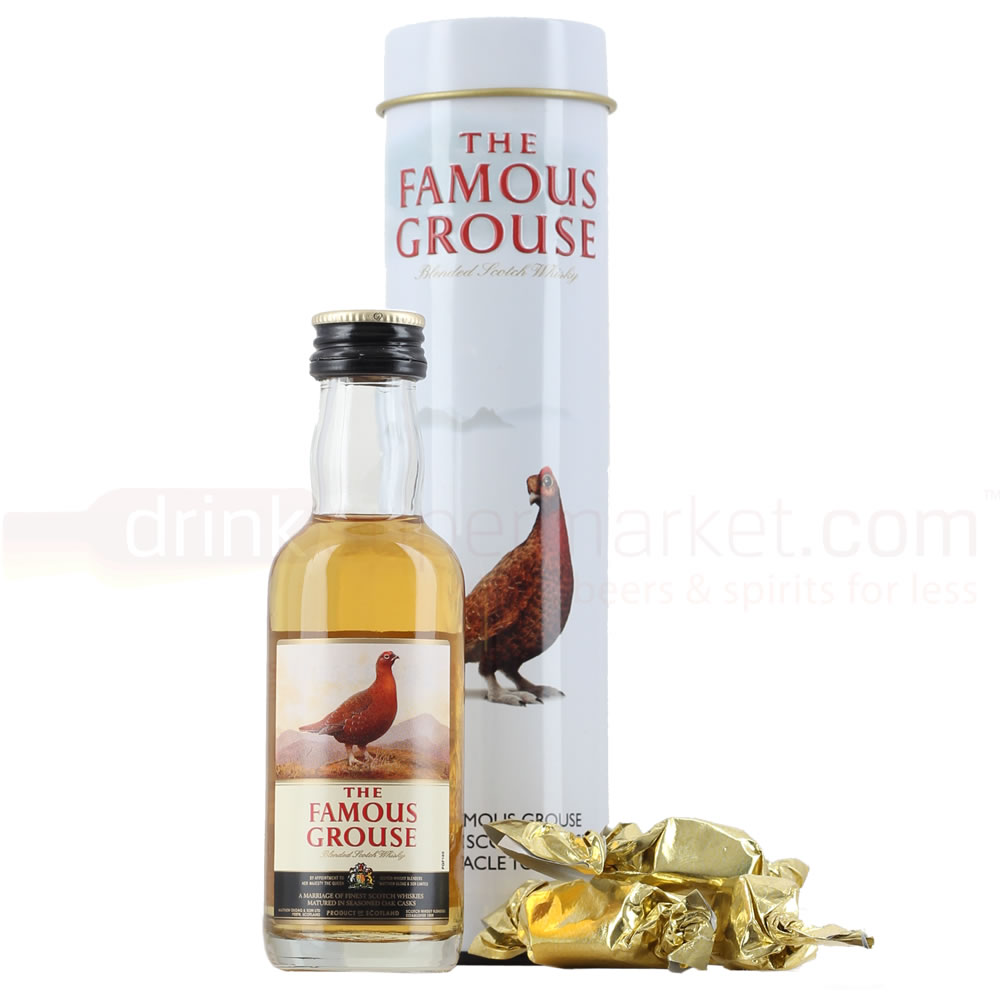 Famous Grouse Whisky 5cl Miniature & Treacle Toffees Gift Tin