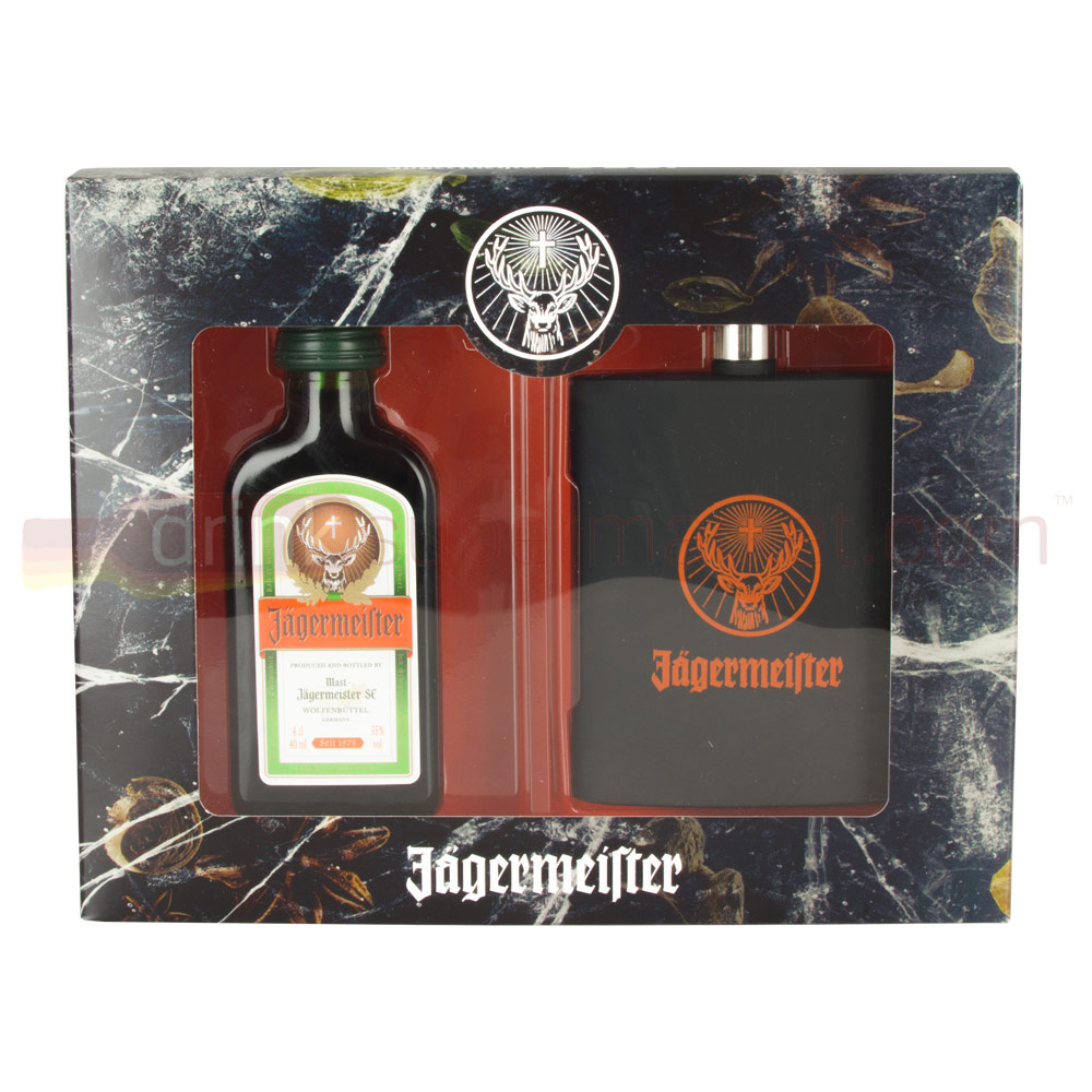 Jagermeister Liqueur 4cl with Hipflask Gift Set