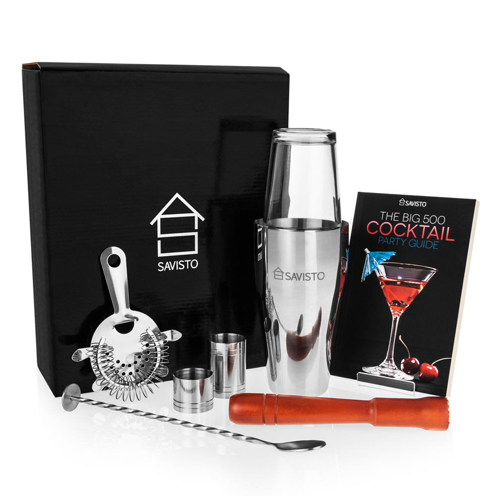 Image of 8 Piece Boston Cocktail Shaker Set with Cocktail Guide Book