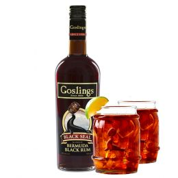 Goslings Black Seal Black Bermuda Rum 70cl 40% ABV Glasses