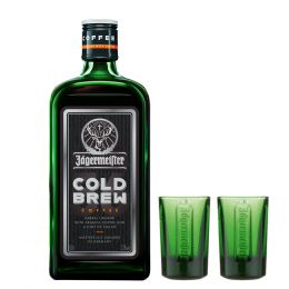 Jagermeister Coldbrew Coffee Liqueur 50cl with shot glases