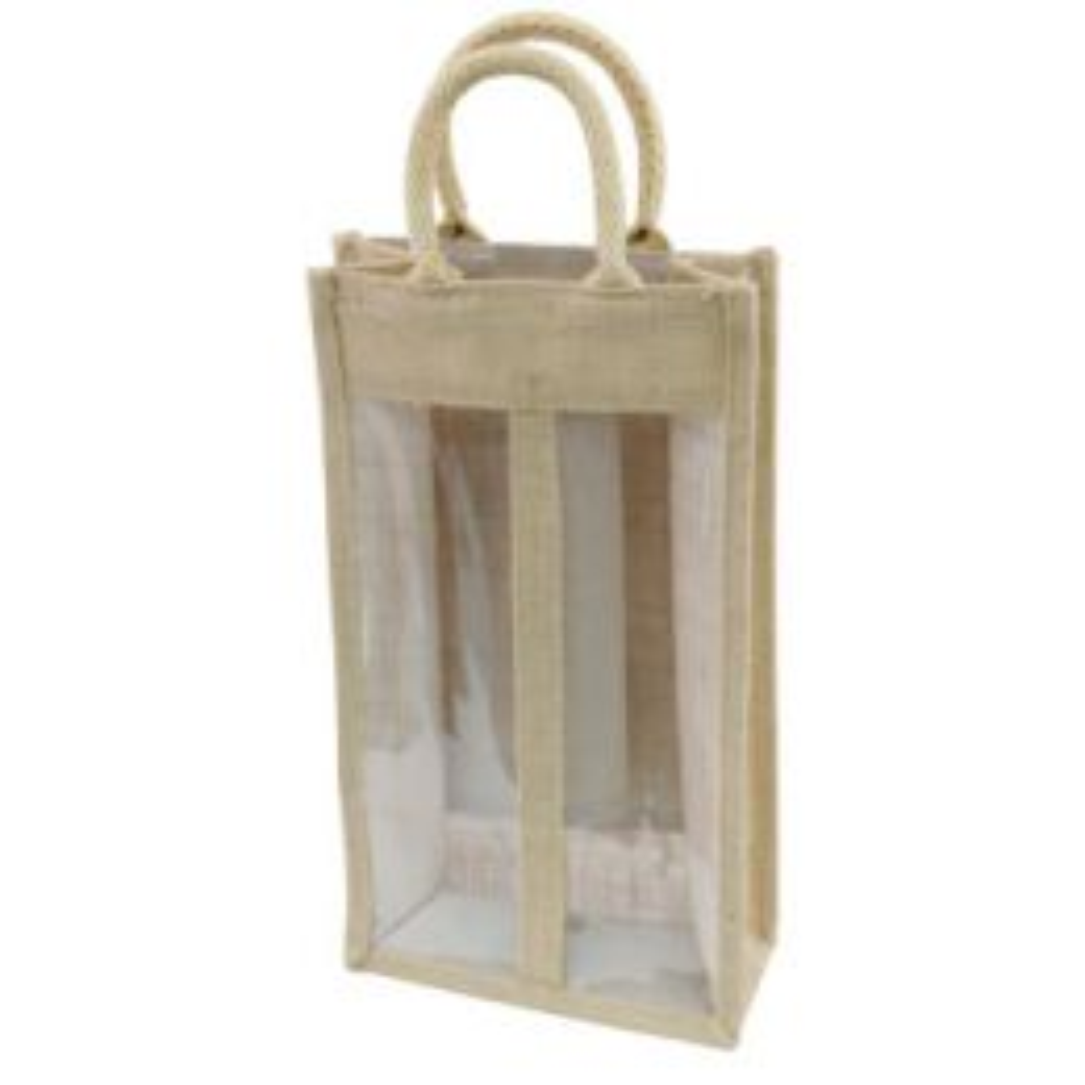 2 Bottle Jute Bag with Window