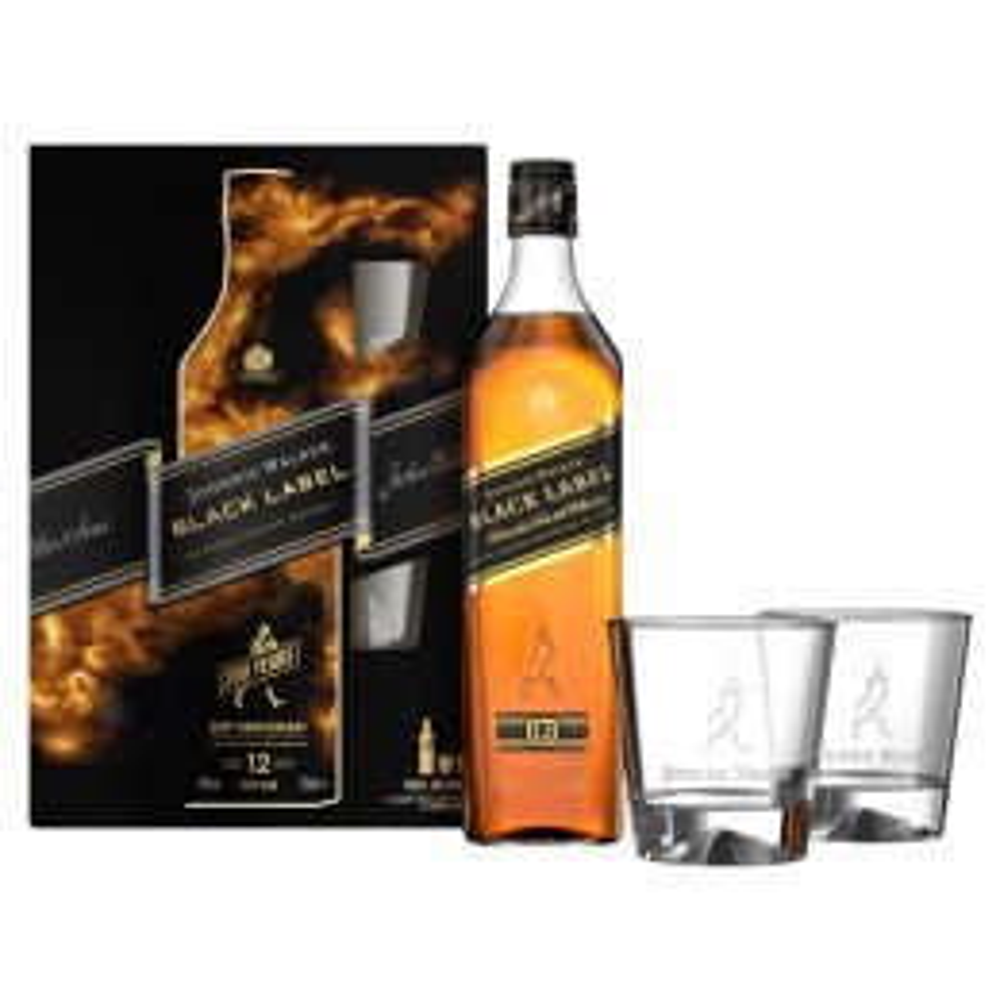 Johnnie Walker Black Label 12 Year Whisky 70cl Gift Pack
