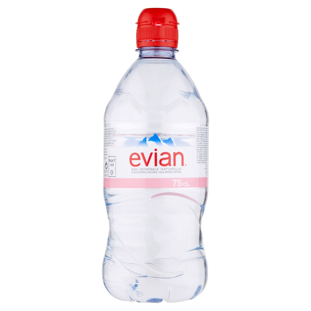 acdd1a9396 Evian Sports Cap Still Natural Mineral Water 12x75cl - DrinkSupermarket