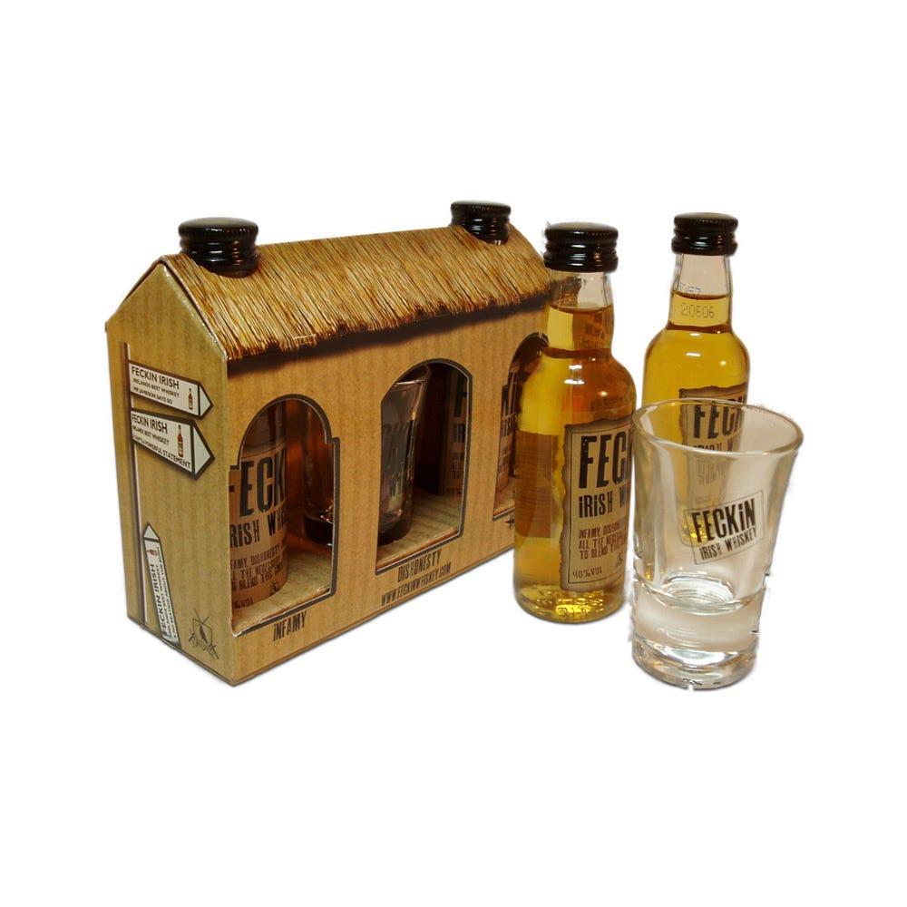 Feckin Cottage Irish Whiskey 2x 5cl Miniature Gift Pack - DrinkSupermarket