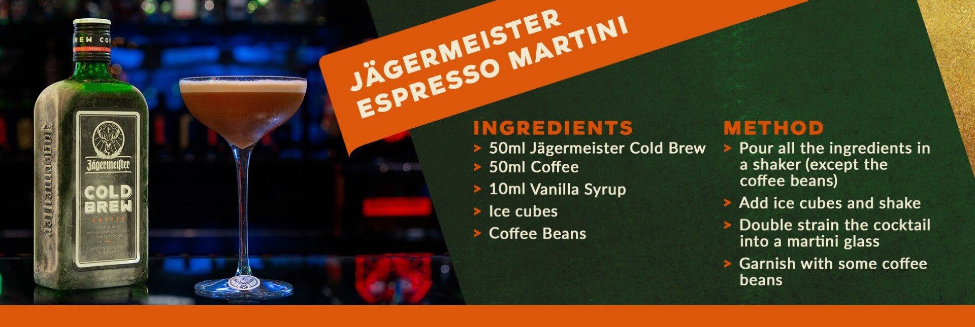 Jagermeister espresso martini cocktail