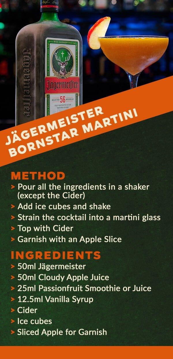 Jagermeister bornstar martini cocktail