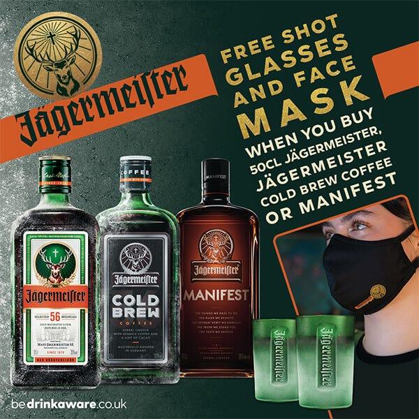 2021 10 11 Jagermeister Face Mask Shot Glasses Promotion